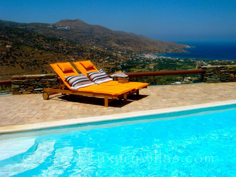 View from the pool of the traditional villa in Andros