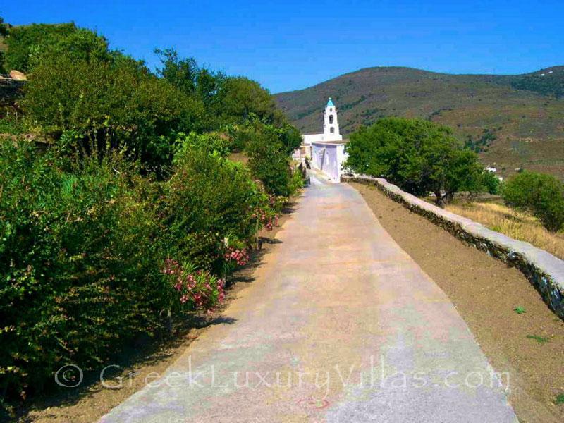 Road from Traditional Villa in Andros
