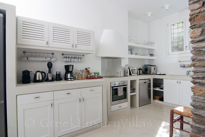 Kitchen of Luxury Villa in Andros