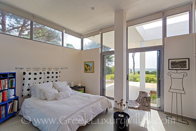 Master bedroom with sea view of sea front villa near Athens