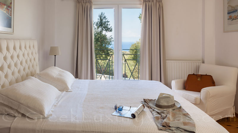 Seaview from the bedroom of a luxurious villa in Corfu