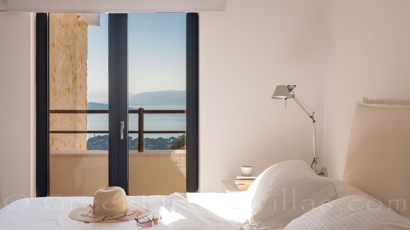 Double bedroom with seaview of a luxury villa in Corfu