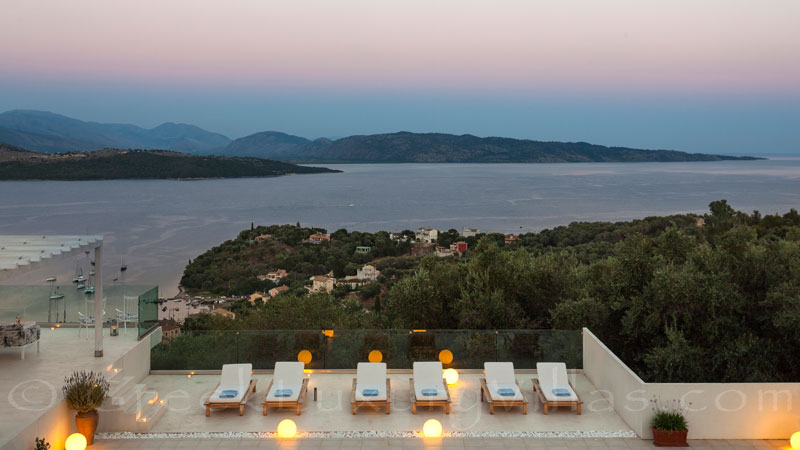 Seaview from a luxury villa in Corfu with pool