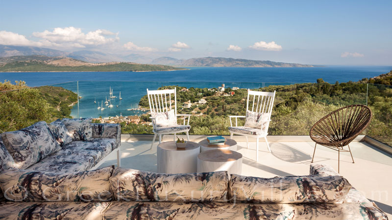 Outdoor lounge with seaview at a luxury villa in Corfu