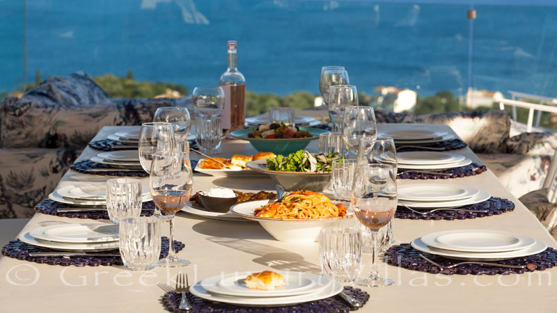 A private chef has prepared a meal which you can enjoy at the luxury villa in Corfu dining with seaview