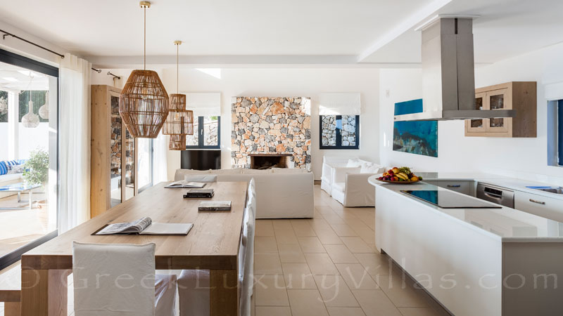 The bright natural colour if the living-room area of a luxury villa in Corfu