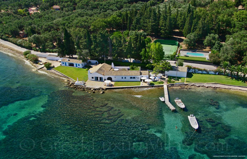 Corfu Waterfront Villa with Pool Tennis and Jetty