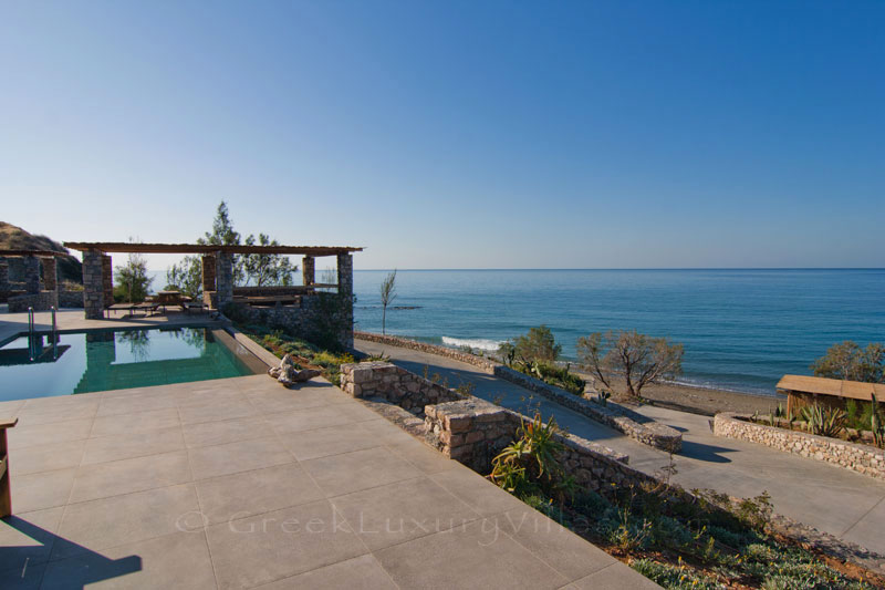 Crete large absolute beachfront villa
