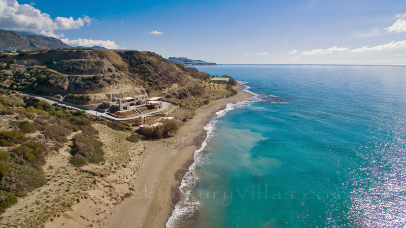 Aerial photo of luxury villa with a private beach suitable for big groups