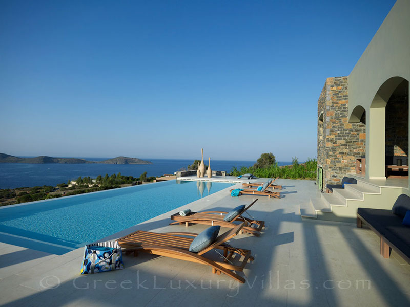 Seaview from the pool of a big luxury villa in Elounda, Crete