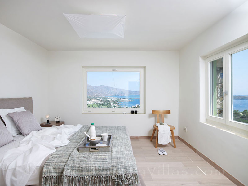 Seaview from a bedroom of a big luxury villa in Elounda, Crete