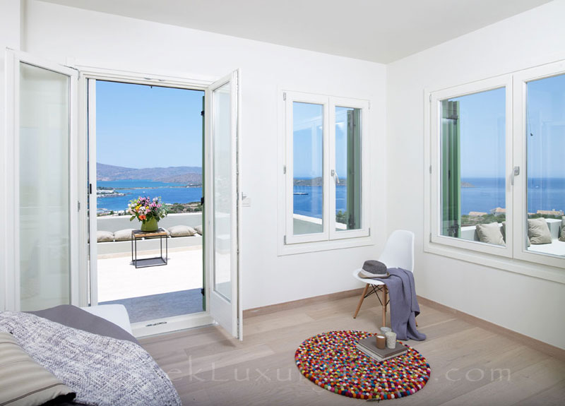 Seaview from the bedroom of a big luxury villa in Elounda, Crete
