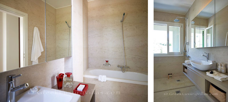 A bathroom of a big luxury villa in Elounda, Crete