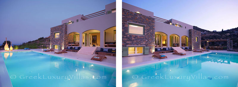 A big pool of a big luxury villa in Elounda, Crete