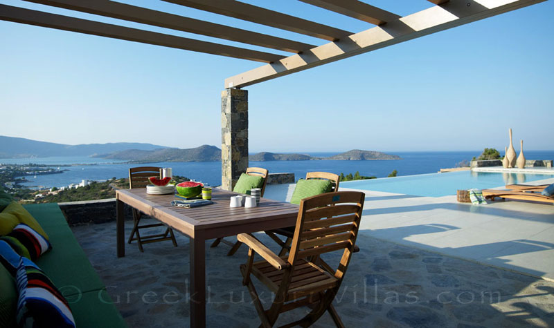 Seaview from the veranda of a big luxury villa in Elounda,Crete