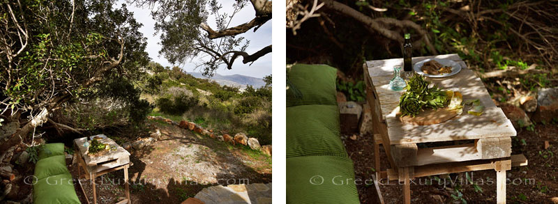 Chill-out in the garden of a big luxury villa in Elounda, Crete