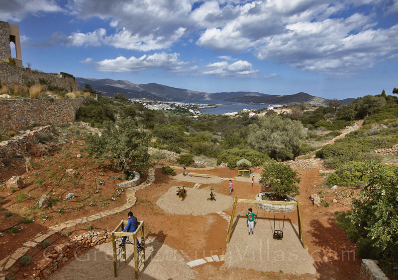 The private playground of a big luxury villa in Elounda, Crete