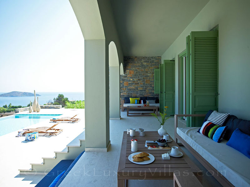 Dining with seaview at a big luxury villa in Elounda, Crete