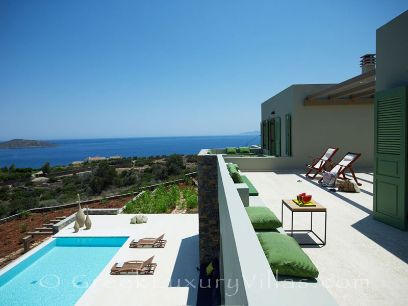 Rooftop terrace of a big luxury villa in Elounda, Crete