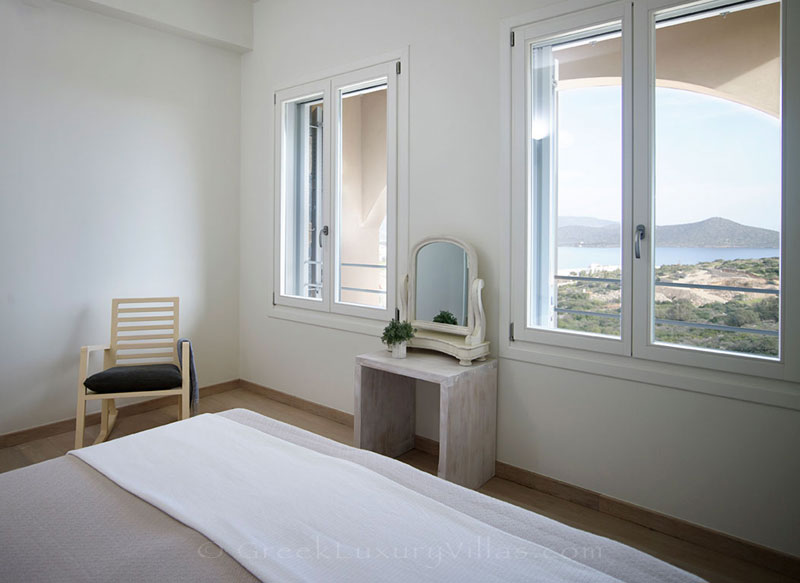 Seaview from the bedroom of a luxury villa in Elounda, Crete
