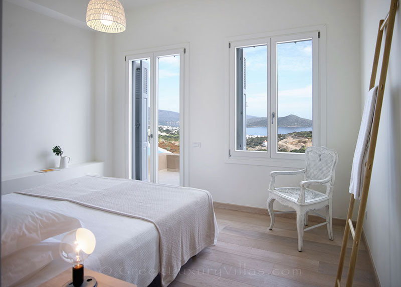 The seaview from a bedroom of a luxury villa in Elounda, Crete