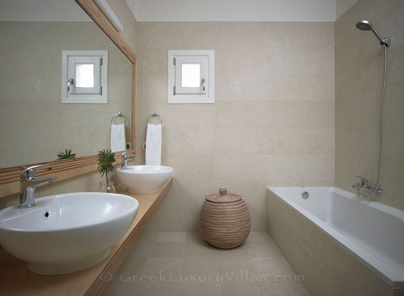 A bathroom of a luxury villa with a pool in Elounda, Crete