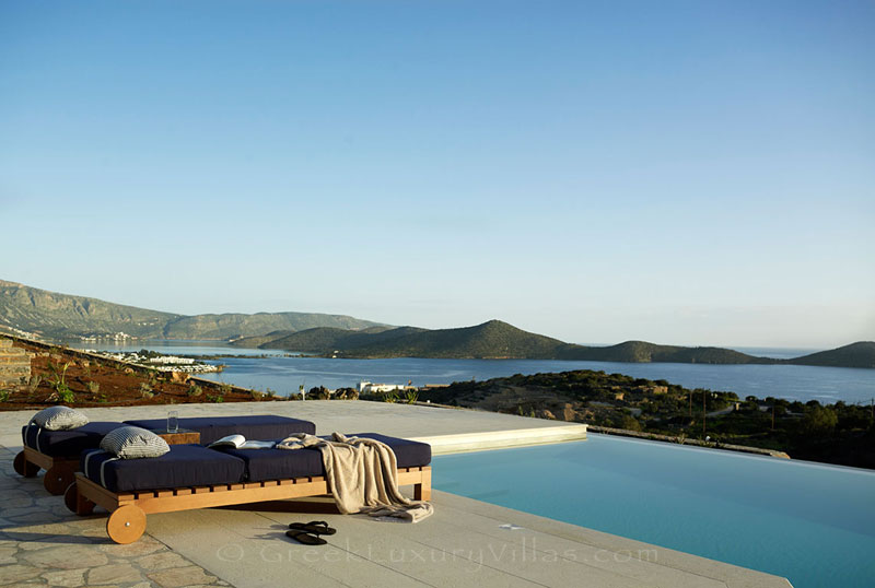 The view over Elounda, Crete, from the luxury villa with a pool
