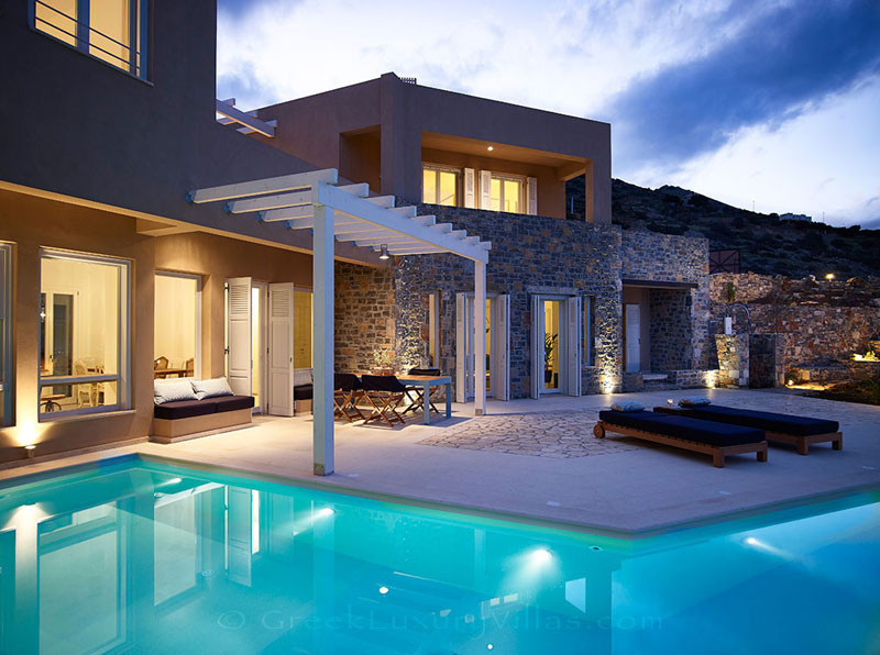 The luxury villa with a pool in Elounda, Crete