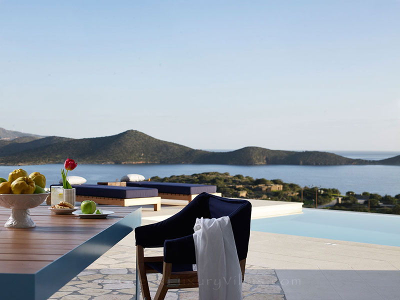 Seaview from a luxury villa with a pool in Elounda, Crete