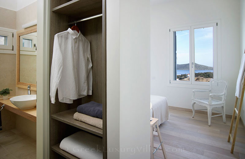 A bedroom in a luxury villa in Elounda, Crete