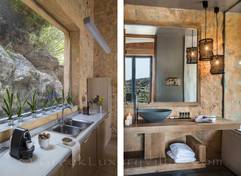 Kitchen of seafront villa with pool in Crete
