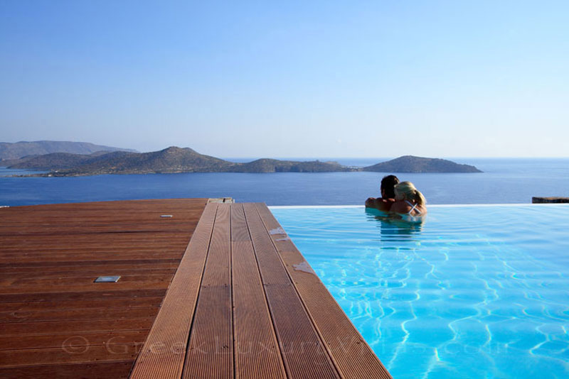 Modern luxury villa with a heated pool in Elounda