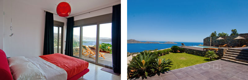 The seaview from the guesthouse of a modern luxury villa with a pool in Elounda