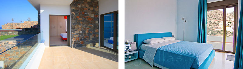 A bedroom of the modern luxury villa with a pool in Elounda