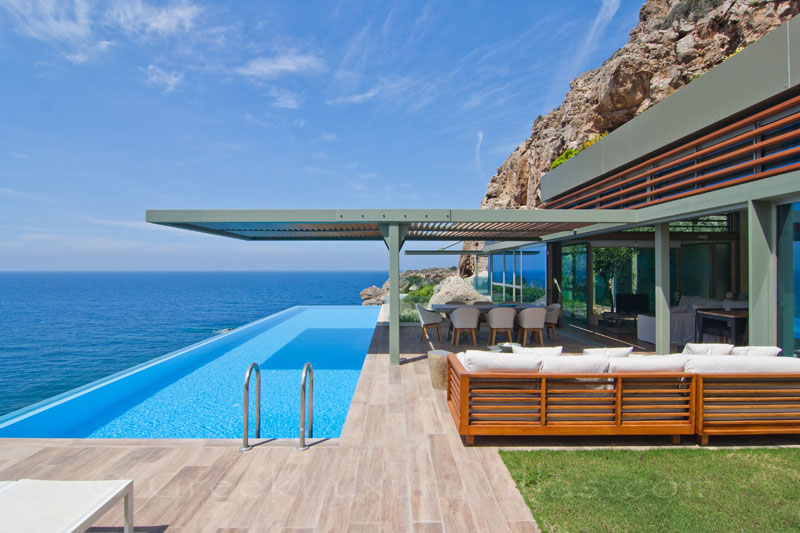 modern seafront villa with pool and sea view on Crete
