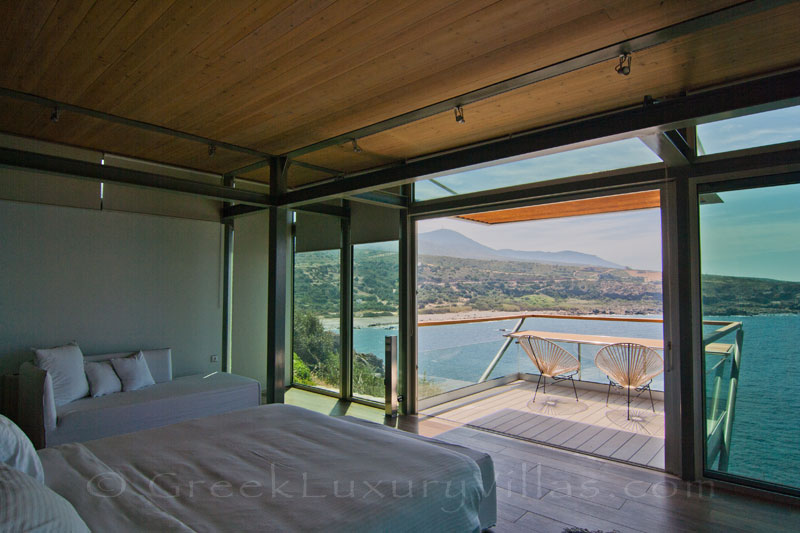 Modern villa on Crete with pool guesthouse sea view from bed