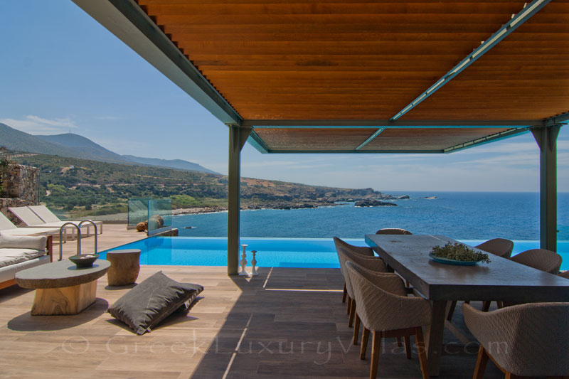 Crete modern seafront villa with pool sea view outdoor lounge