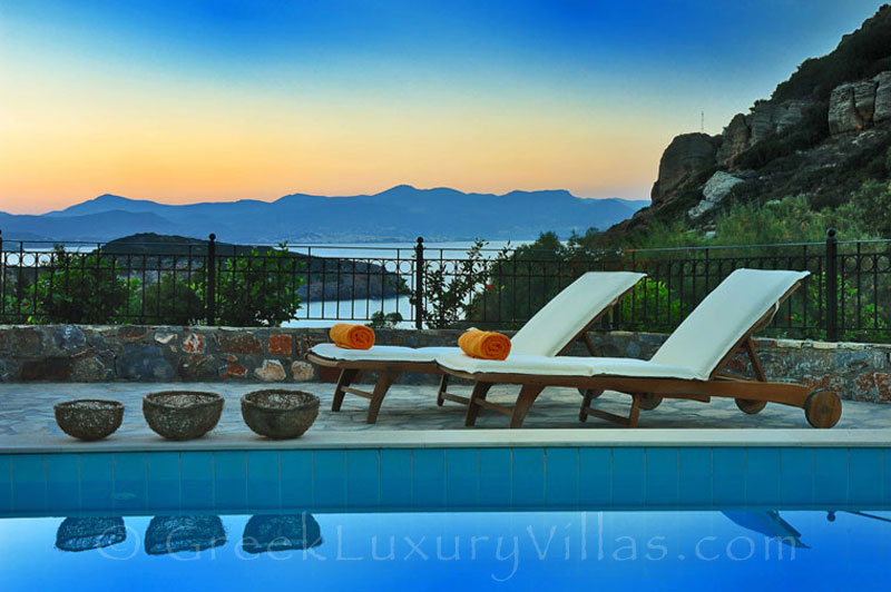 View from of a modern villa with beach access in Crete