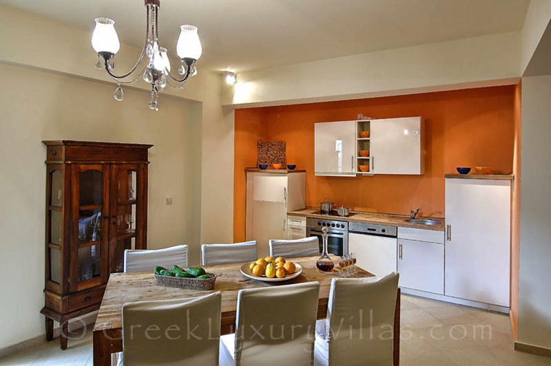 Kitchen of modern villas with beach access and pool in Crete