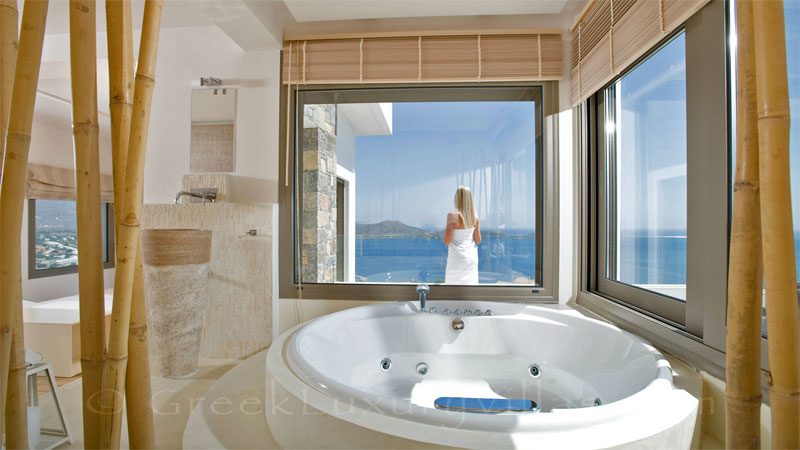 The bathroom of a modern luxury villa overlooking Elounda bay