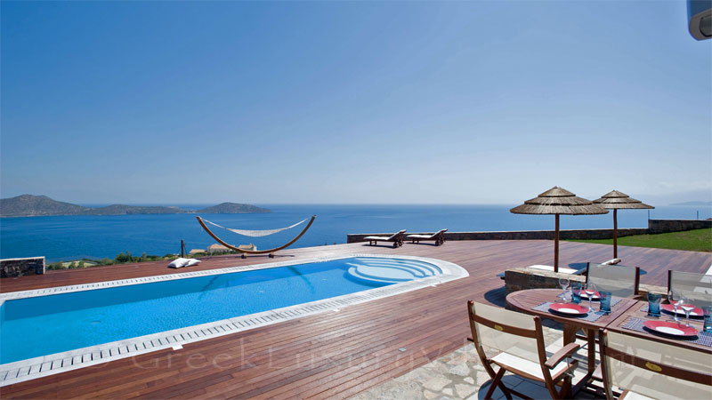 Seaview from a modern luxury villa with a heated pool in Crete