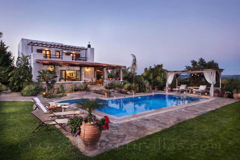 Luxury villa with pool surrounded by cretan nature