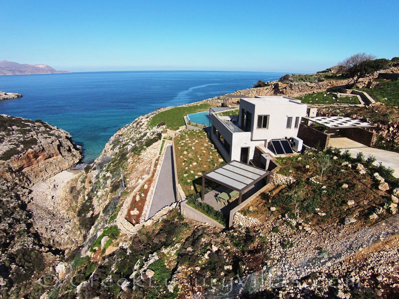 Secluded seafront of a luxury villa in Crete