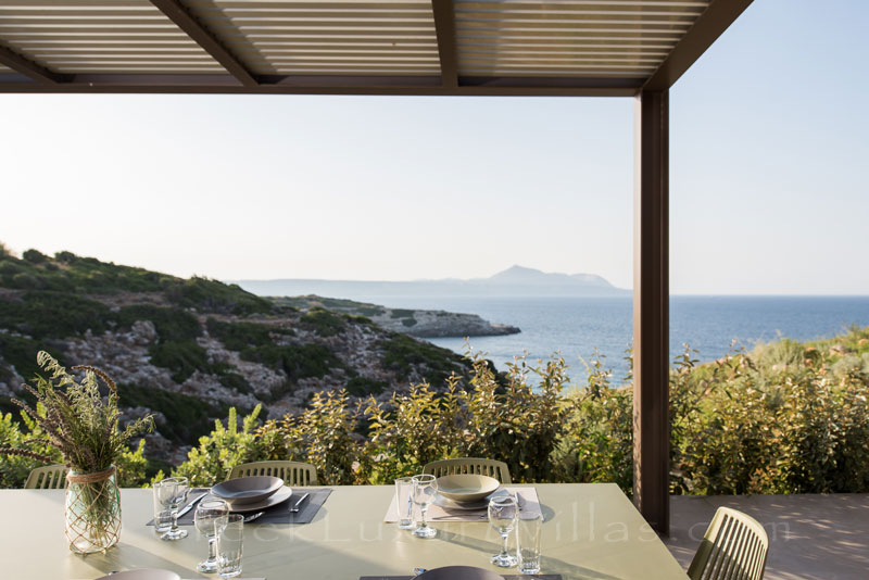 Dining with seaview at the luxury villa in Crete
