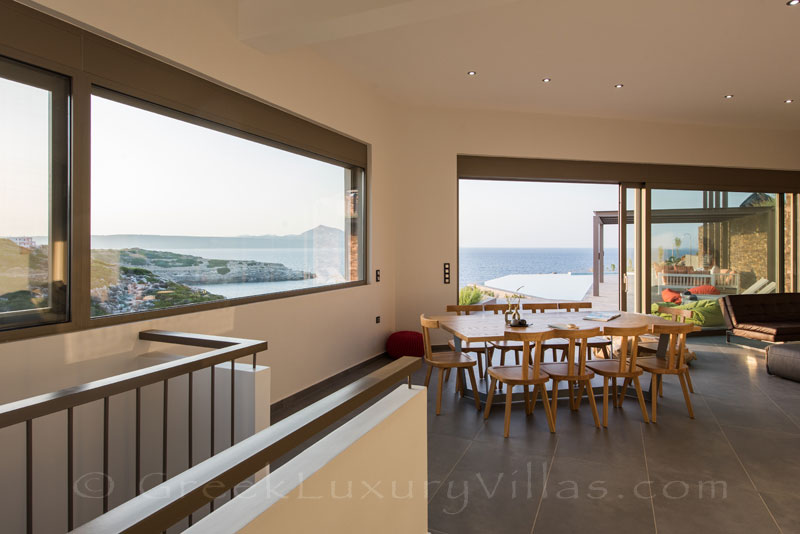 Dining area with seaview in a modern luxury villa in Crete