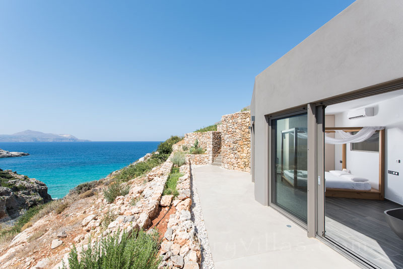 Seaview from the bed of a modern luxury villa
