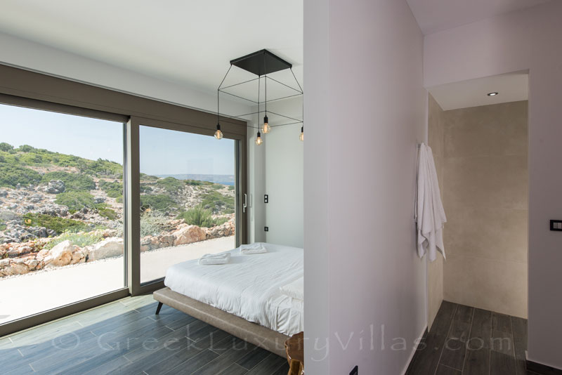 Seaview from the bedroom of a modern villa in Crete