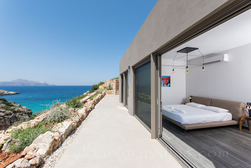 Seaview from the bedroom of a luxury villa in Crete