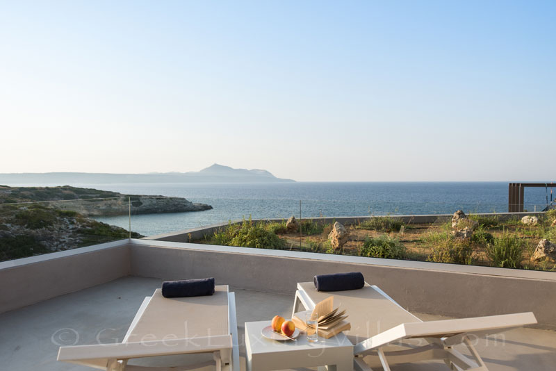 Unique seaview from a luxurious seafront villa in Crete