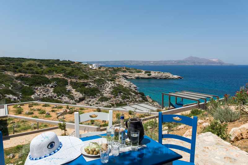 Ouzo with seaview at the modern luxury villa in Crete